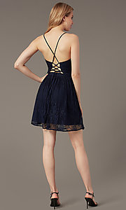Image of short lace corset-tie-back semi-formal party dress. Style: MT-1001-2 Back Image