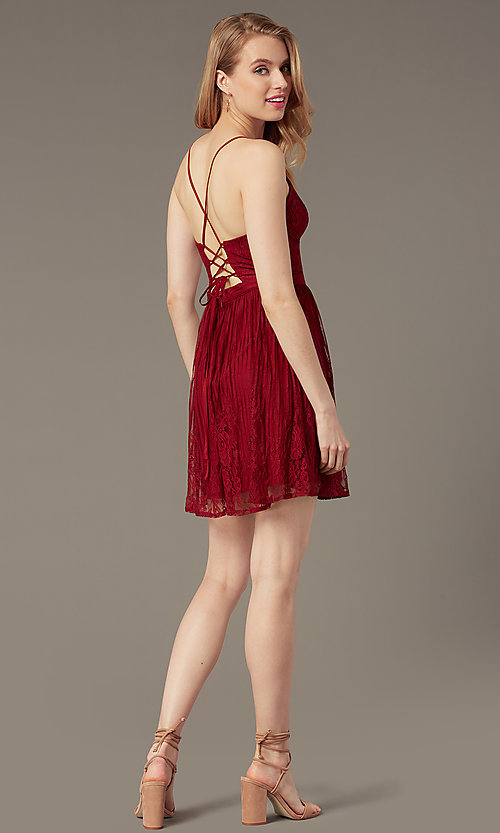 Image of short lace corset-tie-back semi-formal party dress. Style: MT-1001-2 Detail Image 3