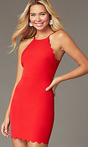 Image of short red party dress with scalloped trim. Style: MT-1087 Front Image