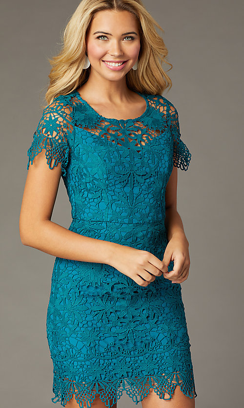 Image of short-sleeve lace short party dress in teal. Style: MT-1077 Front Image