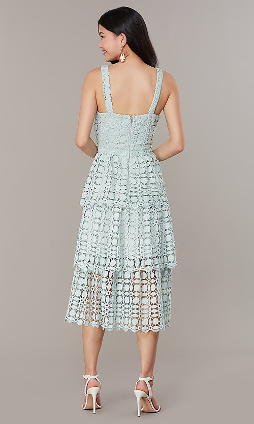 Image of midi tiered-lace sage green wedding-guest dress. Style: JTM-JMD10613 Back Image