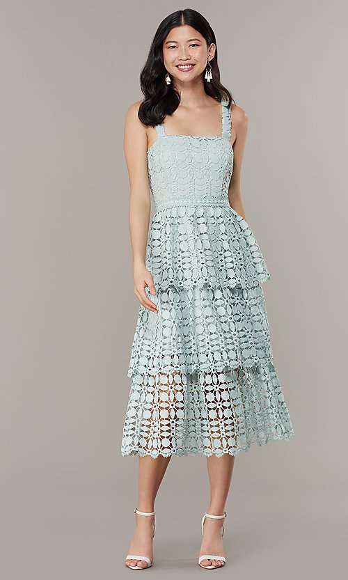 Image of midi tiered-lace sage green wedding-guest dress. Style: JTM-JMD10613 Detail Image 2