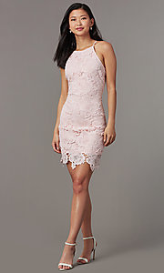 Image of embroidered-lace short sheath wedding-guest dress. Style: JTM-JMD10348 Detail Image 1