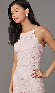 Image of embroidered-lace short sheath wedding-guest dress. Style: JTM-JMD10348 Detail Image 2
