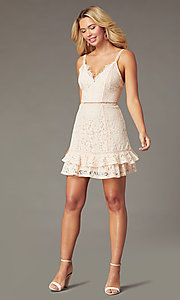 Image of short backless lace party dress in blush pink. Style: JTM-JMD10744 Detail Image 1