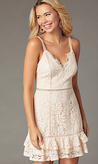 Short Backless Lace Party Dress in Blush Pink