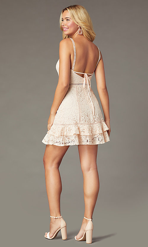 Image of short backless lace party dress in blush pink. Style: JTM-JMD10744 Back Image