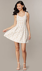 Image of short lace scoop-neck graduation party dress. Style: CHE-D16131CYN Detail Image 2