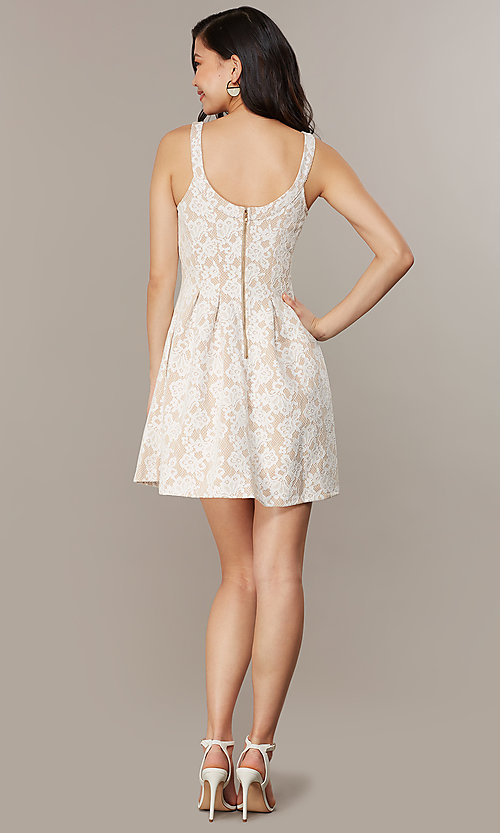 Image of short lace scoop-neck graduation party dress. Style: CHE-D16131CYN Back Image
