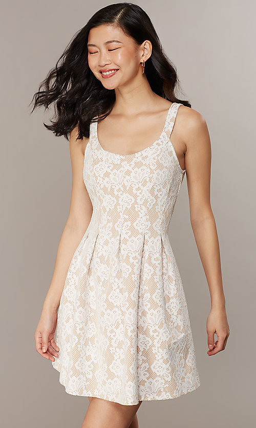 Image of short lace scoop-neck graduation party dress. Style: CHE-D16131CYN Detail Image 1