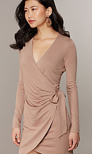 Image of long-sleeve glitter-knit front-wrap party dress. Style: CHE-D16097CXJ Detail Image 1