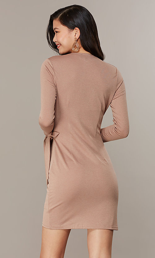 Image of long-sleeve glitter-knit front-wrap party dress. Style: CHE-D16097CXJ Back Image