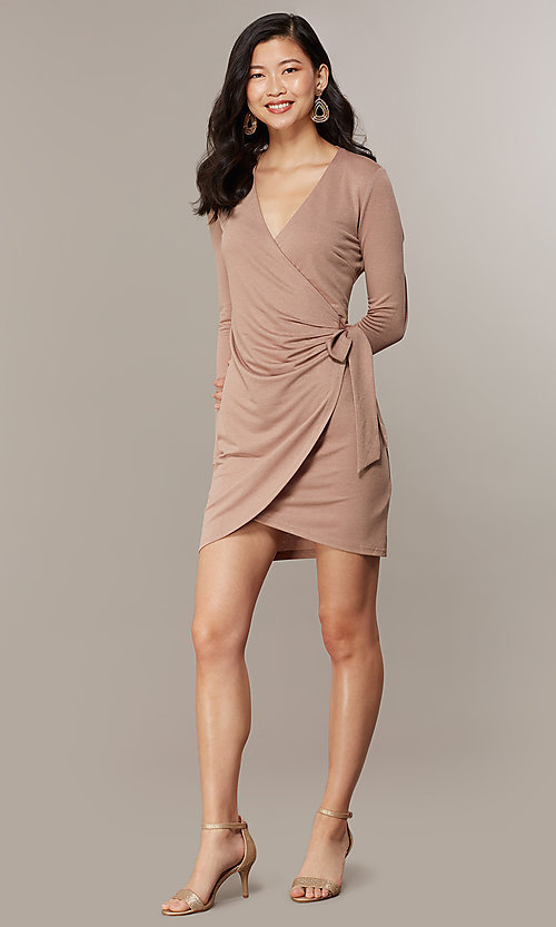 Image of long-sleeve glitter-knit front-wrap party dress. Style: CHE-D16097CXJ Detail Image 3