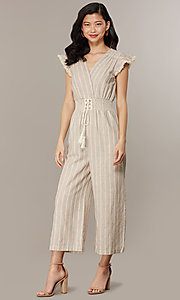 Image of cropped-leg v-neck casual jumpsuit with stripes. Style: CHE-JS16104COQ Front Image
