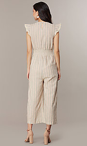 Image of cropped-leg v-neck casual jumpsuit with stripes. Style: CHE-JS16104COQ Back Image