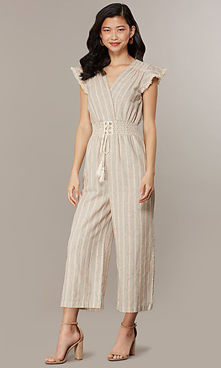 Cropped-Leg V-Neck Casual Jumpsuit with Stripes