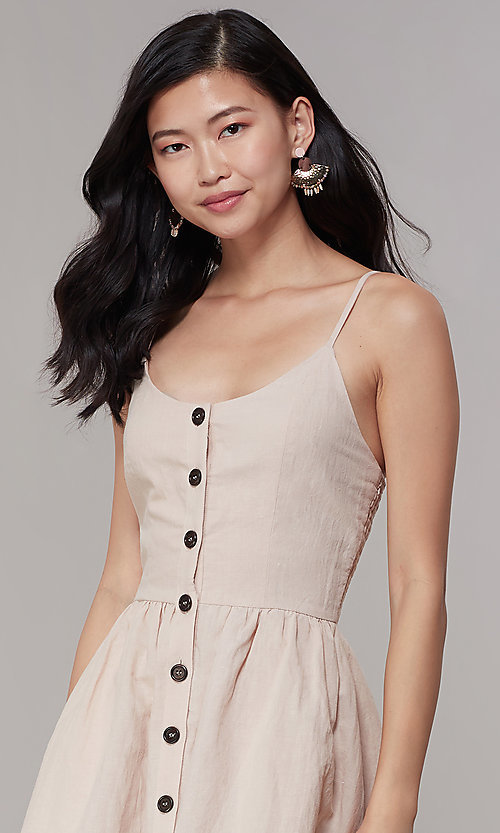 Image of button-front short a-line casual party dress. Style: CHE-D16081CXK Detail Image 1