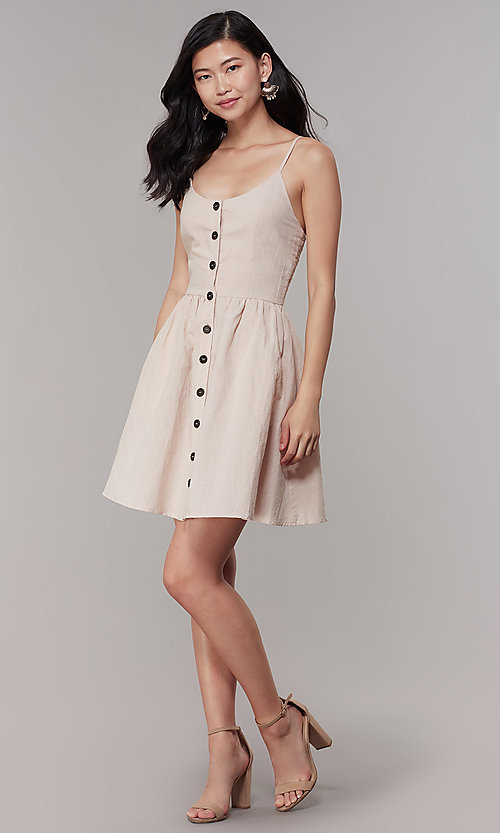 Image of button-front short a-line casual party dress. Style: CHE-D16081CXK Detail Image 3
