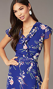 Image of high-low pink floral-print casual blue party dress. Style: ECI-720471-75979 Detail Image 1