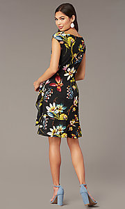 Image of short floral-print wedding-guest wrap dress. Style: ECI-720463-75845A Back Image