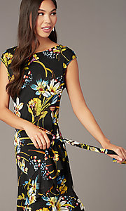 Image of short floral-print wedding-guest wrap dress. Style: ECI-720463-75845A Detail Image 1