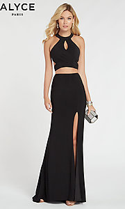Image of two-piece long black formal prom dress by Alyce. Style: AL-60284 Front Image