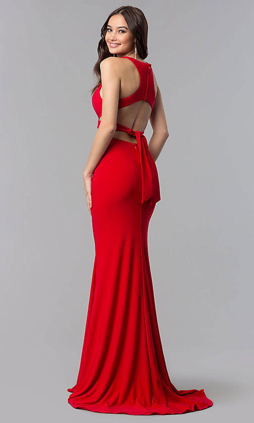 Image of back-tie long two-piece Alyce formal prom dress. Style: AL-60003-v Detail Image 2