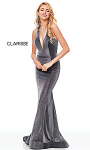 Image of long v-neck glitter jersey prom dress by Clarisse. Style: CLA-3711 Front Image