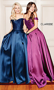 Image of off-shoulder long prom ball gown by Clarisse. Style: CLA-3762 Detail Image 2