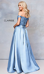 Image of off-shoulder long prom ball gown by Clarisse. Style: CLA-3762 Detail Image 1