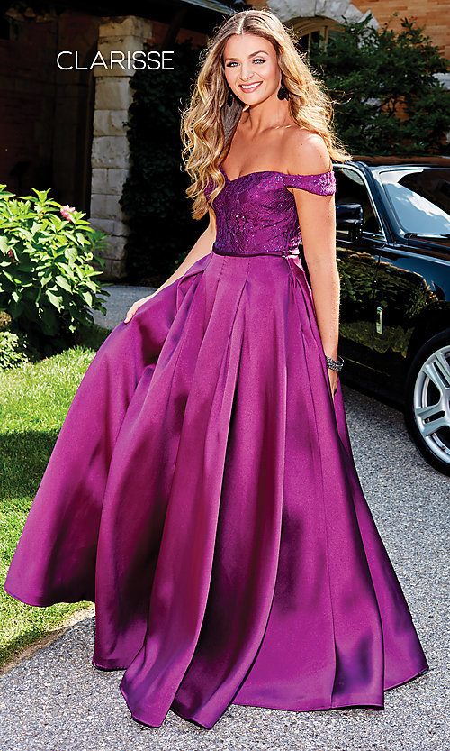 Image of off-shoulder long prom ball gown by Clarisse. Style: CLA-3762 Front Image