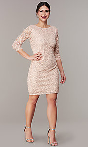 Image of short sequin-lace 3/4-sleeve party dress in blush. Style: JU-TI-t2038 Front Image