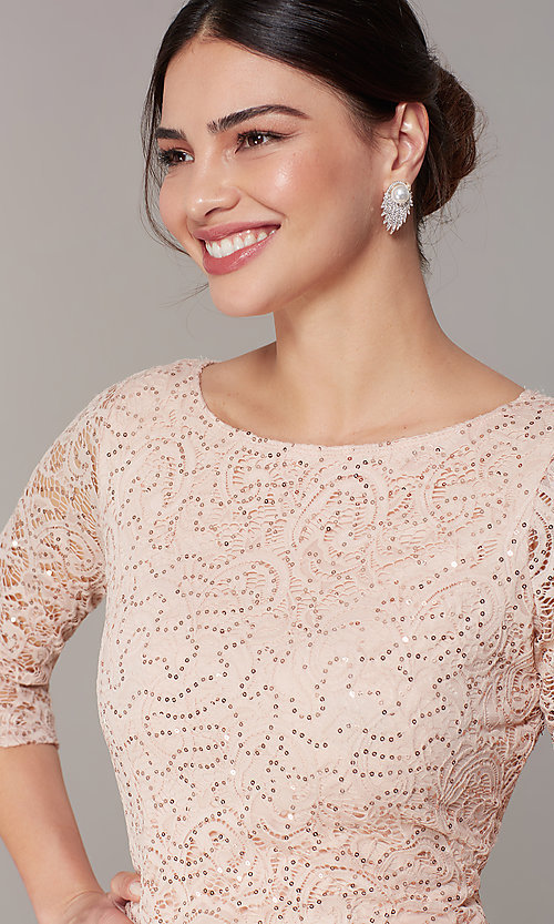 Image of short sequin-lace 3/4-sleeve party dress in blush. Style: JU-TI-t2038 Detail Image 1