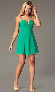 Image of short green party dress with notched v-neckline. Style: IF-51921DQ Front Image