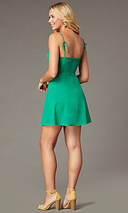 Image of short green party dress with notched v-neckline. Style: IF-51921DQ Back Image