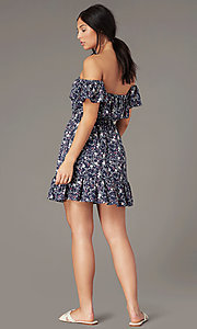 Image of short off-shoulder floral-print casual party dresses. Style: IF-CD270L Back Image
