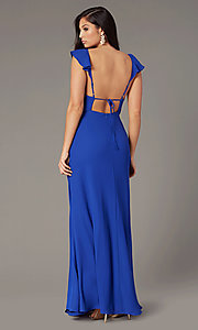 Image of long cobalt blue chiffon wedding-guest dress. Style: IF-CD352L Back Image