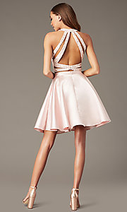 Image of two-piece Alyce short homecoming dress with lace. Style: AL-3823 Detail Image 3