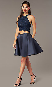 Image of two-piece Alyce short homecoming dress with lace. Style: AL-3823 Front Image
