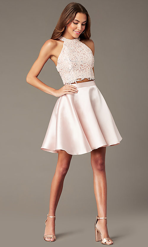 Image of two-piece Alyce short homecoming dress with lace. Style: AL-3823 Detail Image 2