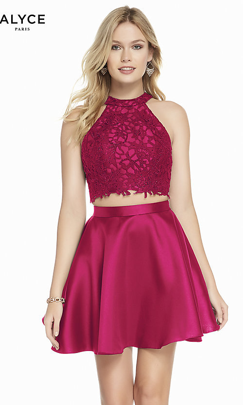 Image of two-piece Alyce short homecoming dress with lace. Style: AL-3823 Detail Image 8