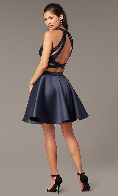 Image of two-piece Alyce short homecoming dress with lace. Style: AL-3823 Back Image