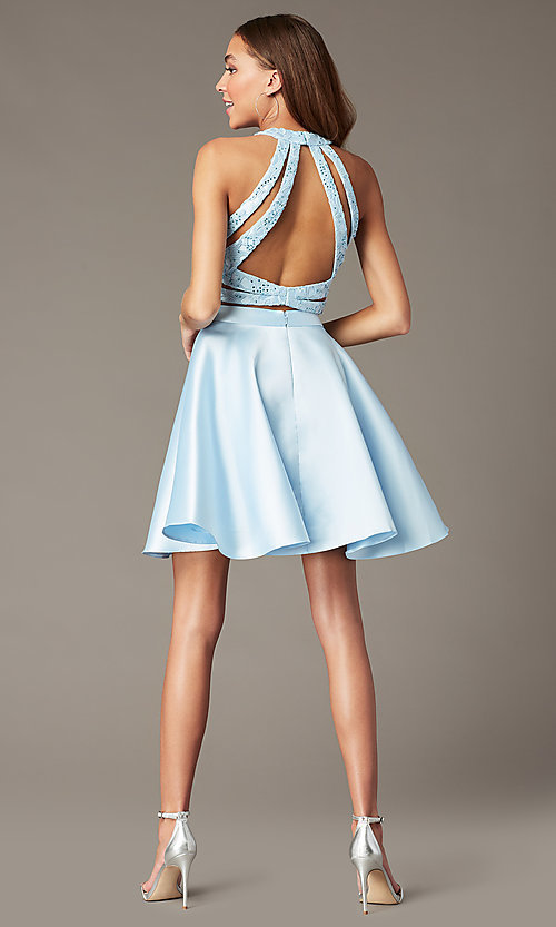 Image of two-piece Alyce short homecoming dress with lace. Style: AL-3823 Detail Image 6