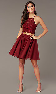 Image of Alyce two-piece lace-bodice short homecoming dress. Style: AL-3824 Detail Image 5