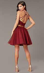 Image of Alyce two-piece lace-bodice short homecoming dress. Style: AL-3824 Detail Image 6
