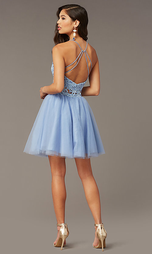 Image of Alyce two-piece lace-bodice short homecoming dress. Style: AL-3824 Back Image
