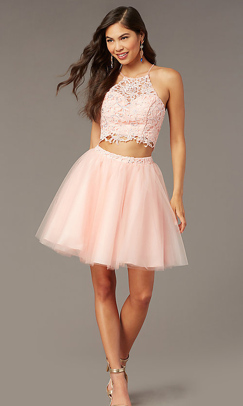 Image of Alyce two-piece lace-bodice short homecoming dress. Style: AL-3824 Detail Image 2