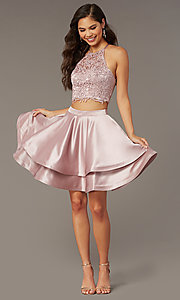 Image of two-piece short hoco dress with open-back top. Style: AL-3825 Back Image