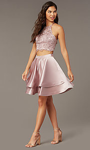 Image of two-piece short hoco dress with open-back top. Style: AL-3825 Detail Image 2