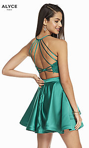 Image of two-piece short hoco dress with open-back top. Style: AL-3825 Detail Image 7